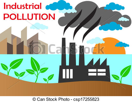 Vector Illustration of Air pollution of factory with chimneys.