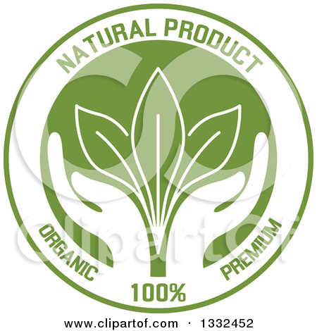 Clipart of Green Natural Quality Product Labels.