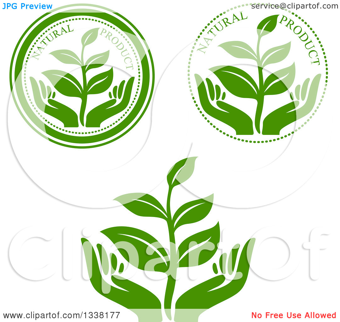 Clipart of Seedling Plant and Hand Green Natural Product Labels.