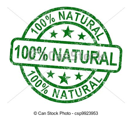Drawings of 100% Natural Stamp Shows Pure Genuine Products.