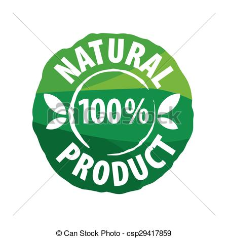 Clipart Vector of vector logo round seal for natural products.
