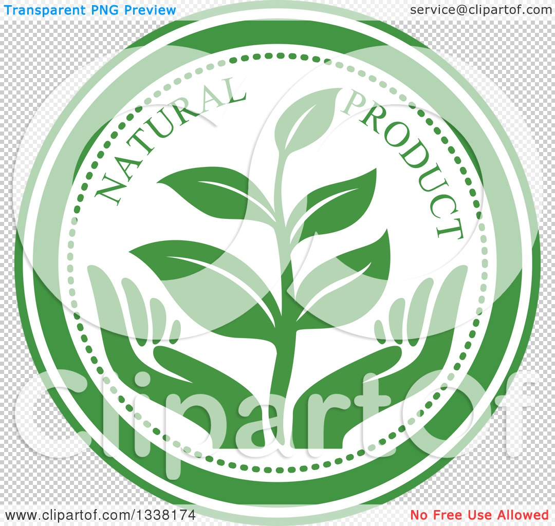 Clipart of a Seedling Plant over Green Hands Natural Product Label.