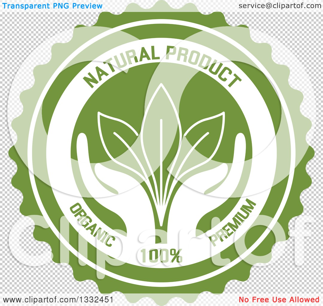 Clipart of a Round Label with a Pair of Hands Supporting Leaves.