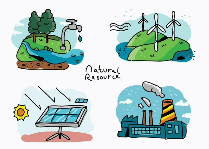 Natural Resource Hand Drawn Vector Illustration.