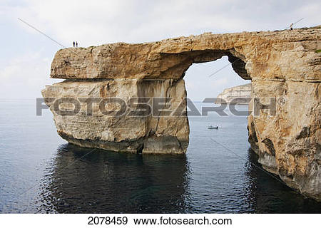Stock Photograph of Azure Window, A Natural Rock Arch, Dwejra Bay.