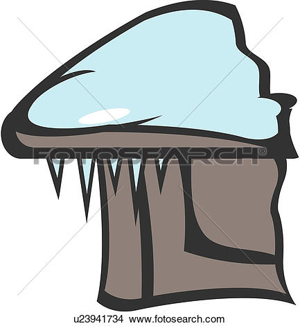 Clipart of season, roof, nature, icicle, natural phenomenon, house.