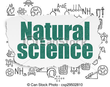 Clipart of Science concept: Natural Science on Torn Paper.