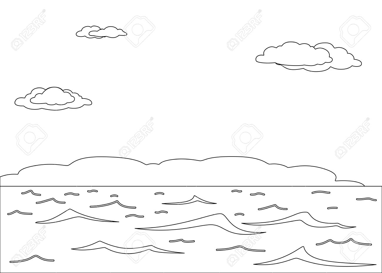 Beach vacation clip art black and white