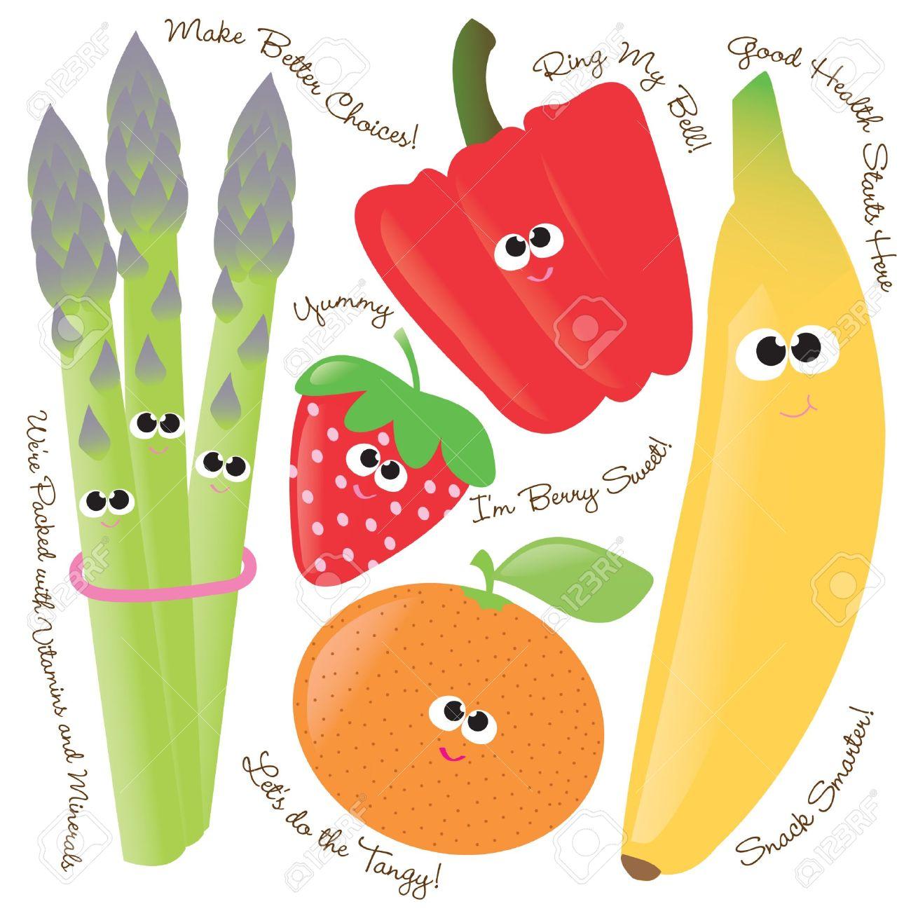 Mixed Fruits & Vegetables Vector Set 1 Royalty Free Cliparts.