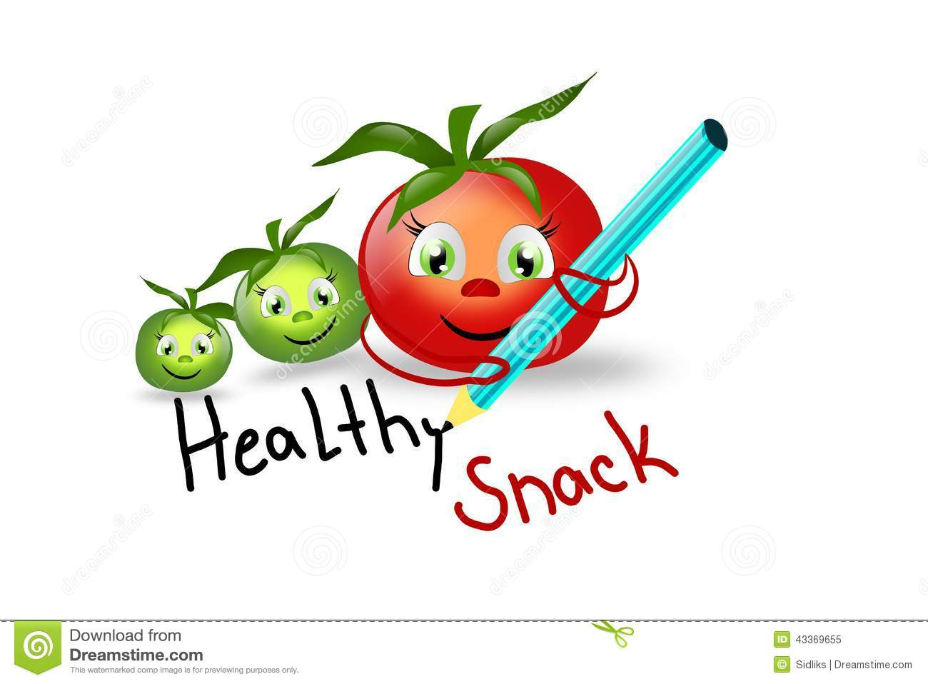 Healthy Snack With Tomatoes Stock Illustration.