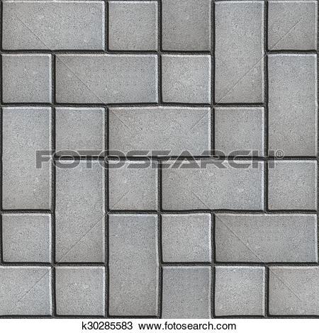 Drawing of Gray Paving Slabs Imitates Natural Stone. k30285583.