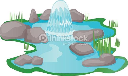 Natural Fountain Spring Water Vector Vector Art.