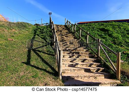 Picture of stairs to the beach with wooden railings csp14577475.