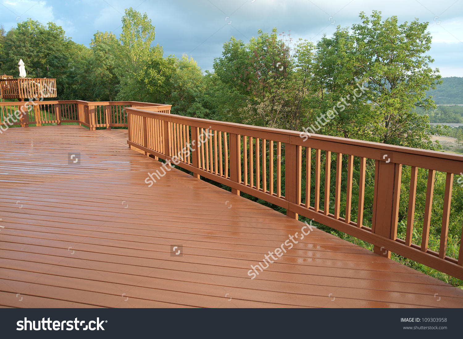 Freshly Painted Stained Wood Deck Railing Stock Photo 109303958.
