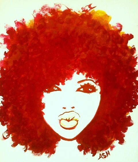 Clipart girl with natural hair.