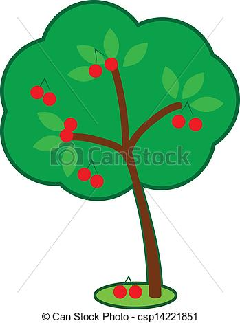 Clipart Vector of Cute Cherry Tree.