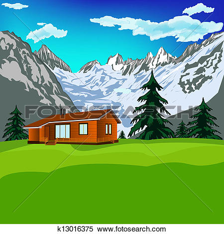 Stock Illustration of Best alps mountains resort k13016375.