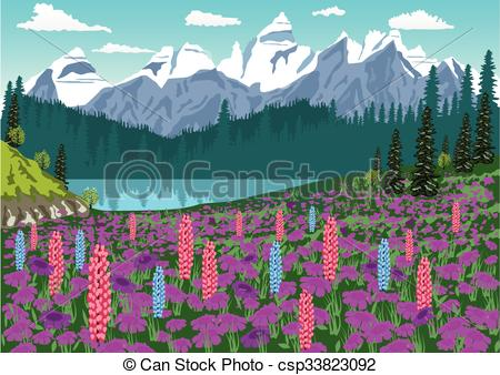 EPS Vectors of Alpine meadow with delphinium and rhododendrons in.