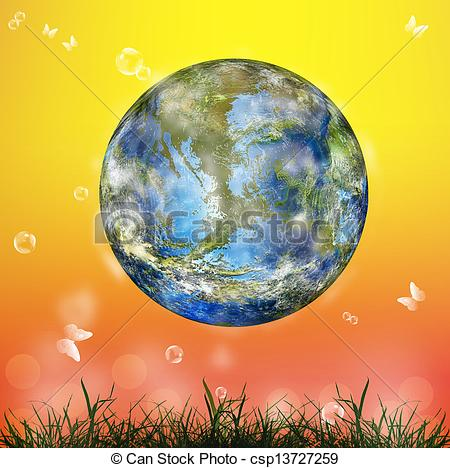 Stock Illustrations of Geo climate technology.Nature background.