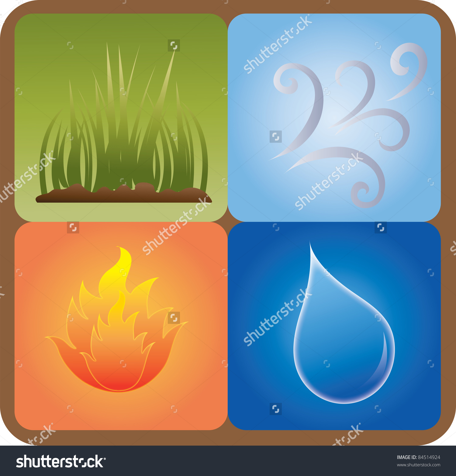 Clip Art Illustration Four Elements Nature Stock Illustration.