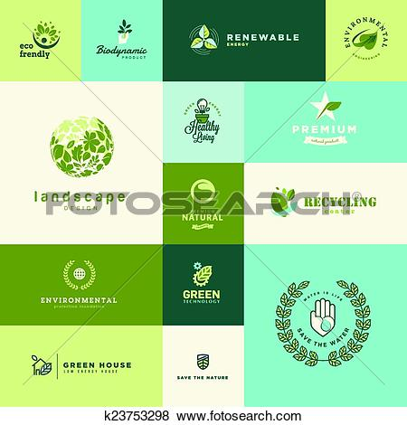 Clip Art of Set of nature and technology icons k23753298.