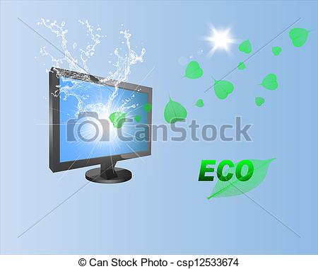 Stock Illustrations of Modern Technology and Nature.