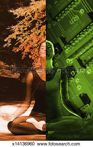 Stock Illustrations of Woman in balance with nature and technology.