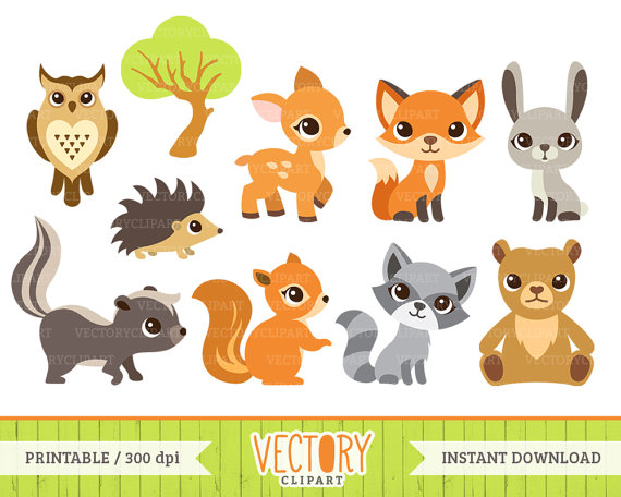 10 Woodland Animal Clipart Forest Animals Animal by VectoryClipart.