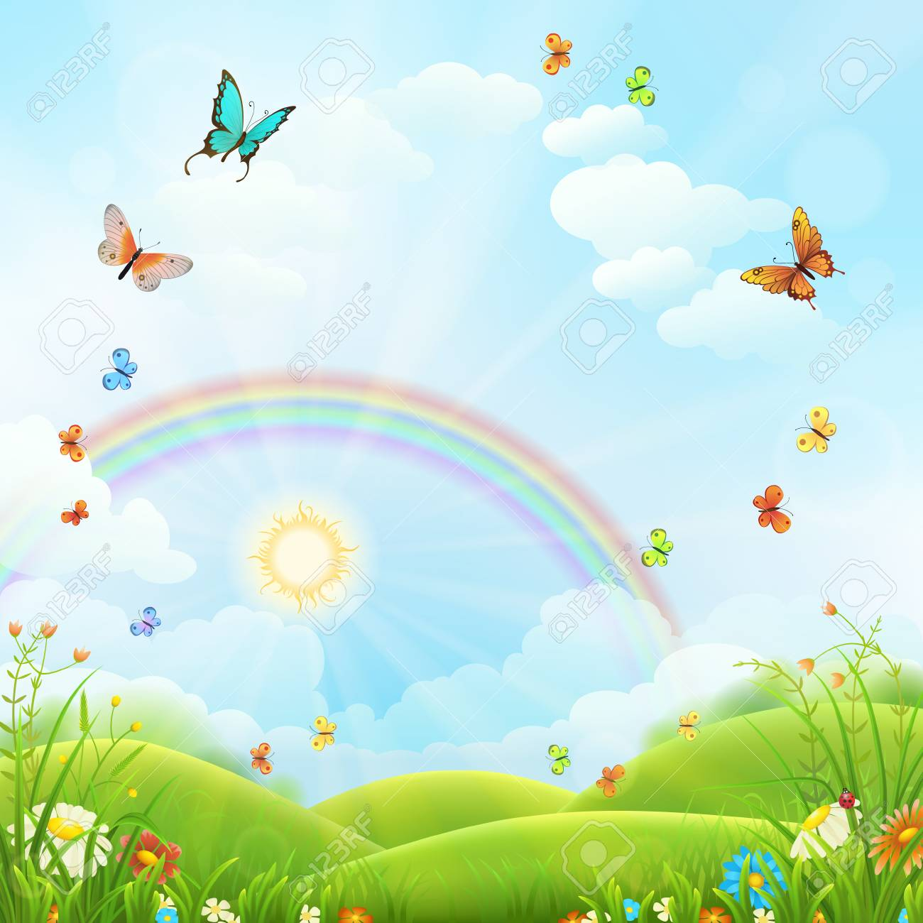 Nature background with green grass, flowers and rainbow.