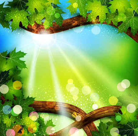 Fresh green leaves on natural background Clipart Picture.