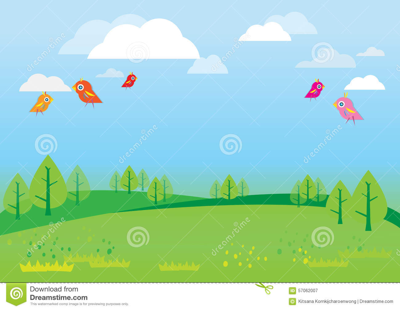 Natural Background For Kids Vector Stock Vector.