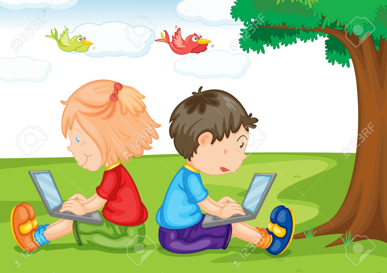 Illustration Of Kids With Laptop On A White Background Royalty.