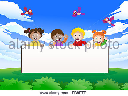 Illustration of Kids Holding a Blank Banner Stock Photo, Royalty.