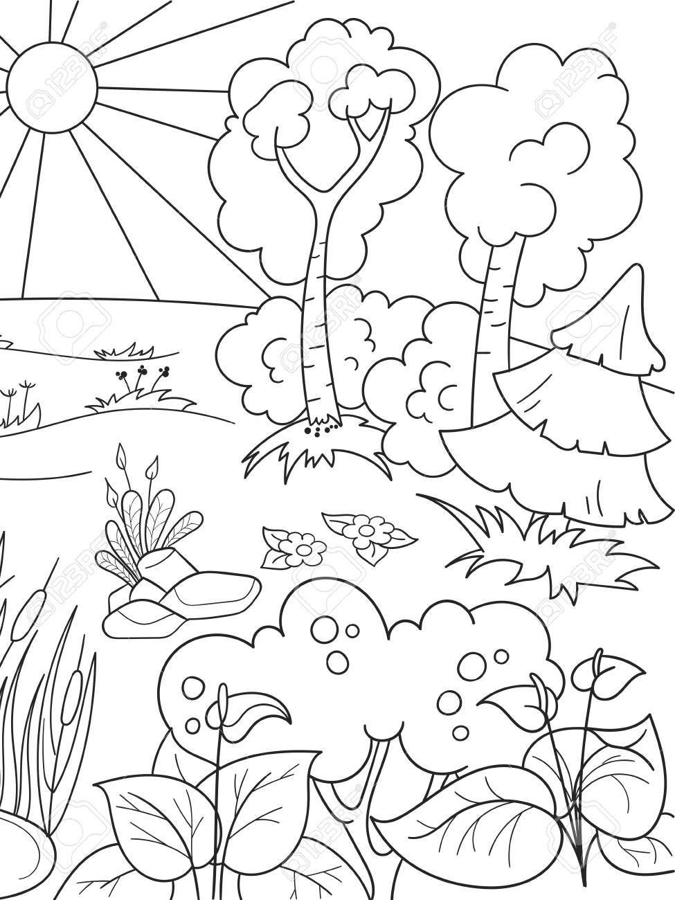 Cartoon coloring book black and white Nature. Glade in the forest...