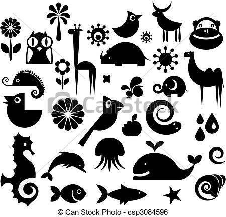Clip Art Vector of Collection of nature icons.