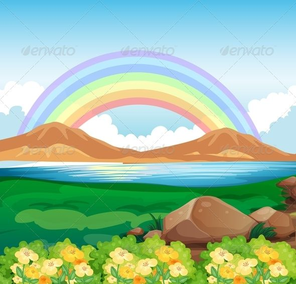 Illustration of a view of the rainbow and the beautiful.