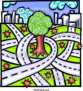 Concrete jungle encroaching on nature, highways Clip Art.