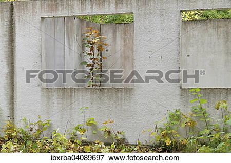 Picture of Ruins of a building, prefabricated concrete unit of a.