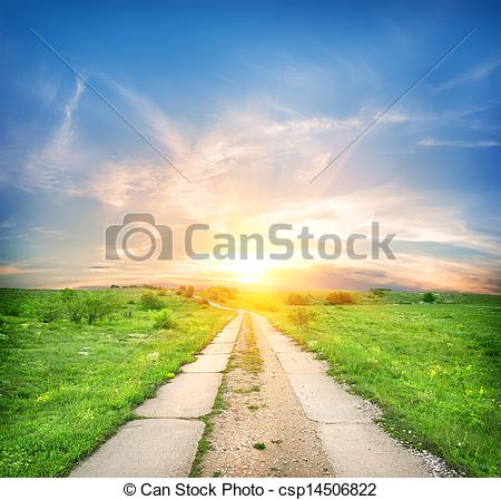 Clip Art of Concrete road in a green spring field csp14506822.