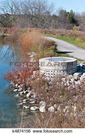 Stock Images of Stormwater Management System Perforated Concrete.