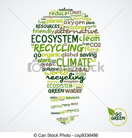 Clip Art Vector of Go Green. Words cloud about environmental.