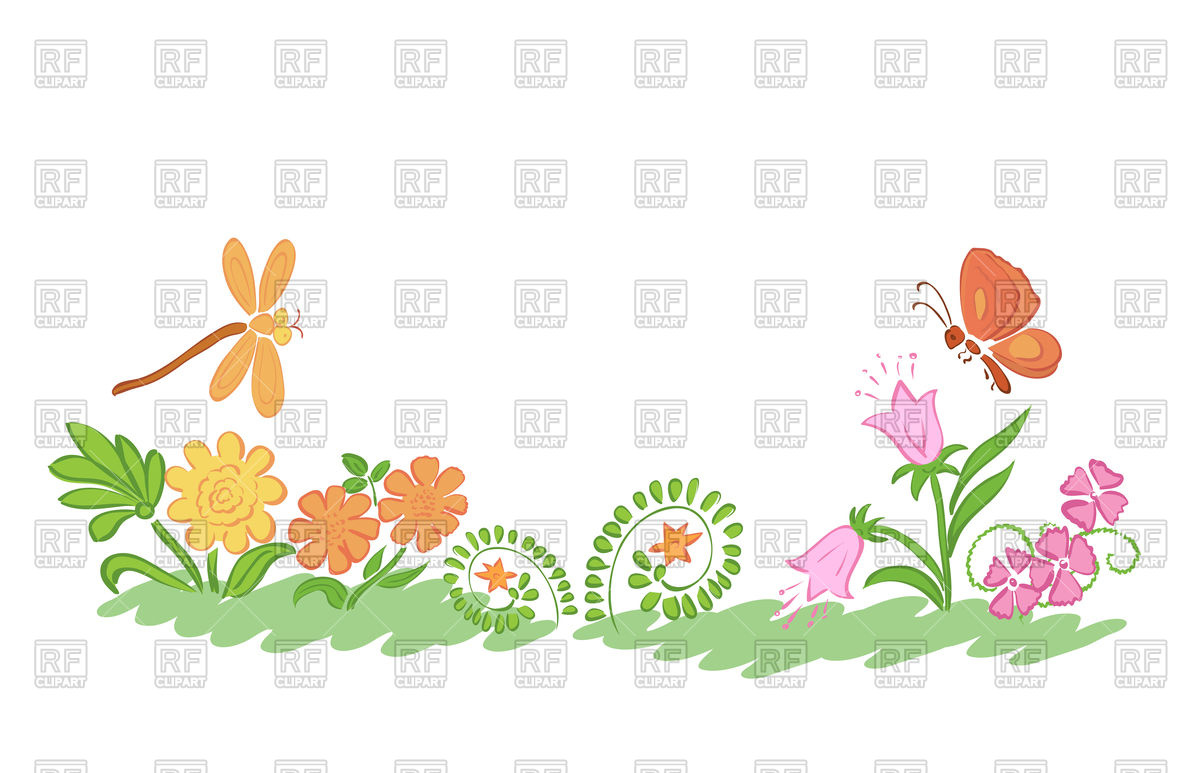 Summer nature flowers and plants Vector Image #114121.