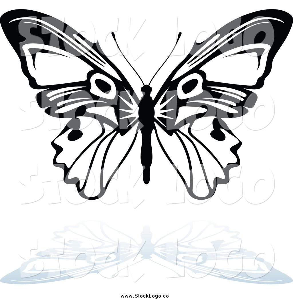 Vector Clipart of a Black and White Butterfly with a Gray.