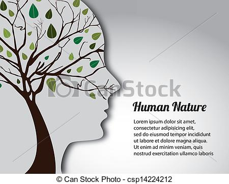 Vector Clip Art of human nature over gray background vector.