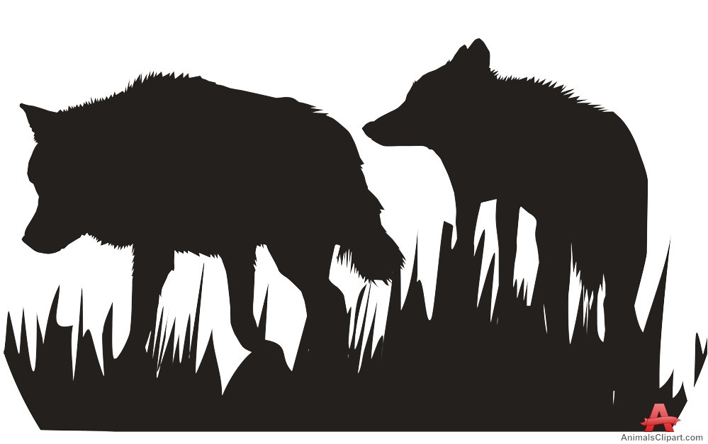 Walking Wolves in Nature Silhouette Clipart.