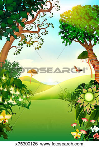Stock Illustration of Country idyll x75300126.
