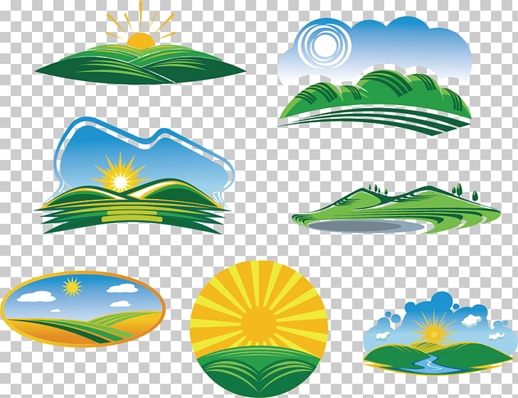 Euclidean Green Illustration, Nature logo, green mountains.