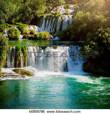 Stock Images of Waterfalls in national park. Krka National Park.