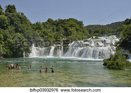 "Stock Images of ""Tourists taking a bath at the Skradinski buk."