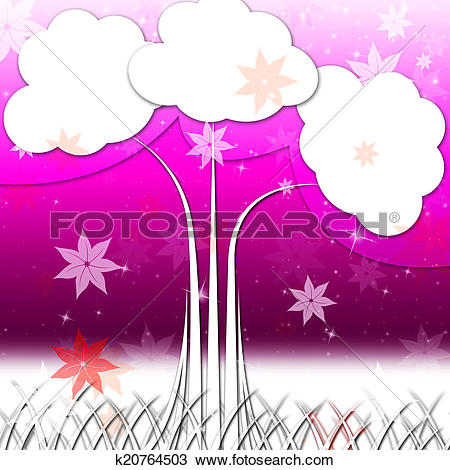 Drawing of Tree Background Means Nature Outside And Flowers.